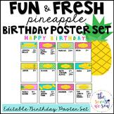 Pineapple Classroom Decor: Birthday Poster Set