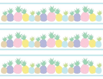 Pineapple Classroom Decor -  Blank Labels & Borders