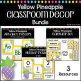 Pineapple Classroom Theme Decor Bundle - Alphabet Numbers Calendar