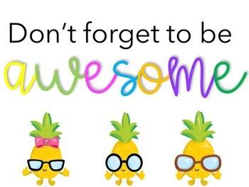 Pineapple Classroom Decor Bundle (editable!)