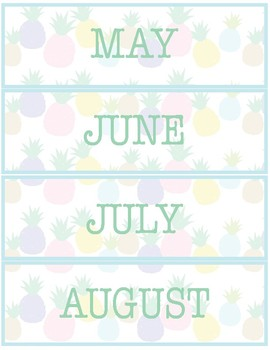 Pineapple Classroom Decor - Calendar