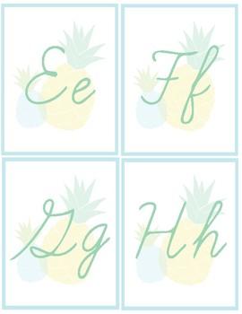 Pineapple Classroom Decor - Cursive Alphabet