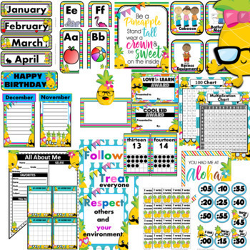 Pineapple Classroom Decor EDITABLE Bundle Theme 30% off
