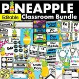 Pineapple Classroom Theme Decor Bundle EDITABLE 30% off