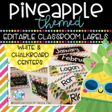 Pineapple Classroom Decor: Editable Labels, Desk Plates, B