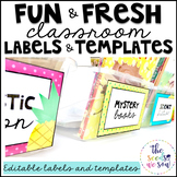 Pineapple Classroom Decor: Editable Labels and Templates