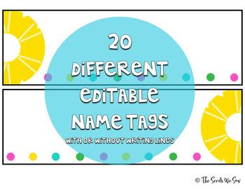 Pineapple Classroom Decor {Editable Name Tags/ Name Plates}