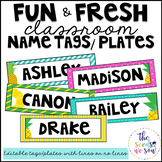 Pineapple Classroom Decor: Editable Name Tags/Plates