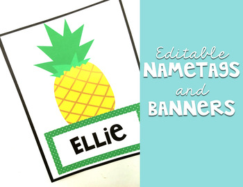 Pineapple Classroom Decor: Name Tags and Banner