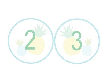 Pineapple Classroom Decor - Numbers