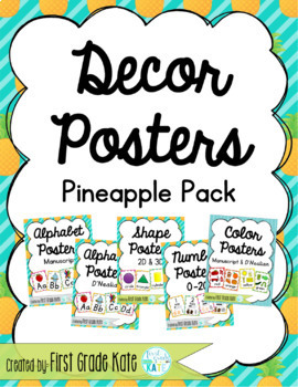 Pineapple Classroom Decor Poster Pack