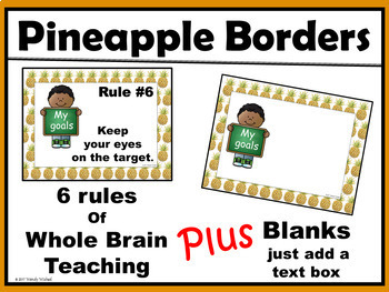 Pineapple Classroom Decor Rules: Whole Brain Teaching, PBIS, & Editable Rules