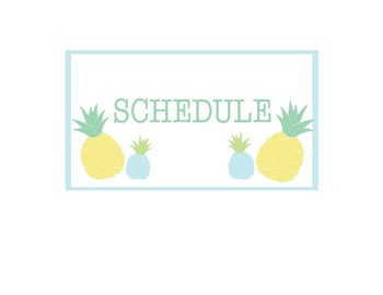 Pineapple Classroom Decor -  Schedule