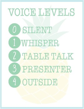Pineapple Classroom Decor -  Voice Level Chart
