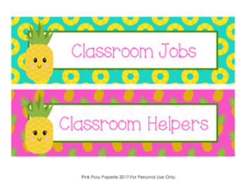 Pineapple Classroom Job Helpers Set