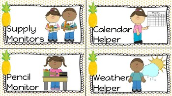 Pineapple Classroom Job Signs