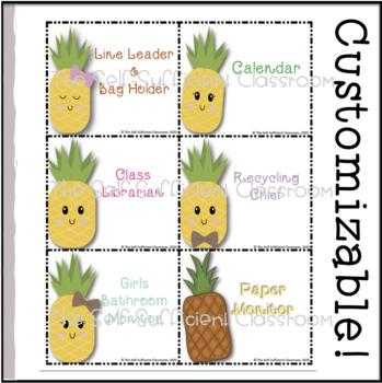 Pineapple Classroom Jobs (Editable)