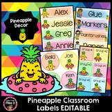 Pineapple Classroom Labels Editable