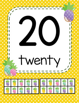 #roomdecor Pineapple Classroom Number Posters with Number Words & Ten Frames