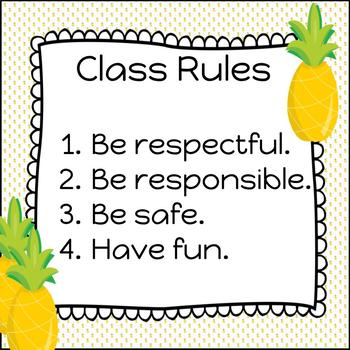 Pineapple Classroom Rules - FREEBIE