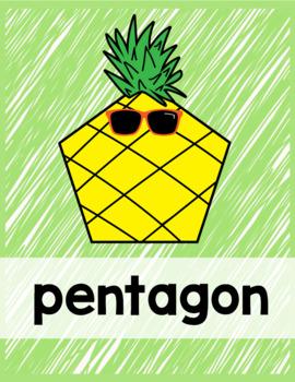 Pineapple Classroom Decor Shape Posters
