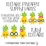 Pineapple Classroom Supply Labels Editable