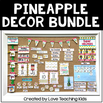 Pineapple Classroom Decor Bundle Editable