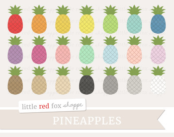 Pineapple Clipart; Fruit, Tropical, Summer