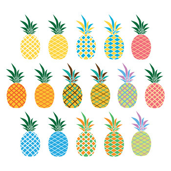 16 Pineapples Vector Clipart   Food Graphics   PNG, AI, EPS