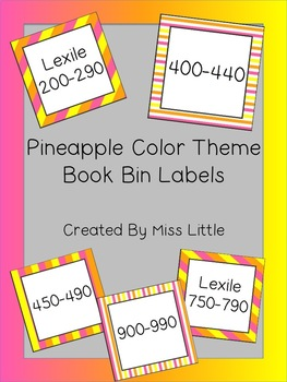 Pineapple/Tropical Color Themed Book Bin Labels