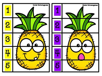 Pineapple Counting Puzzles 1-5 FREEBIE!