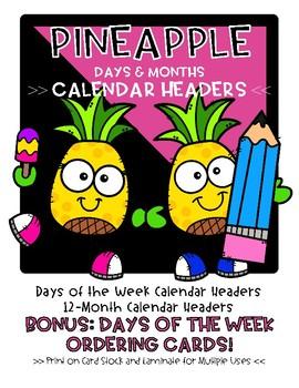 Pineapple Days and Months Calendar Headers