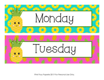 Pineapple Days of the Week Calendar Headers