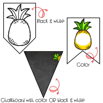 Pineapple Decor: EDITABLE Banners, Pennants, and Flags