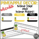 Pineapple Decor: Name Tags and Name Plates EDITABLE