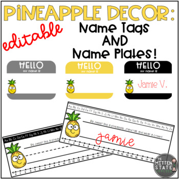 Pineapple Decor: Name Tags and Name Plates EDITABLE