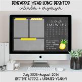 Pineapple Desktop Organization Wallpaper + Calendar