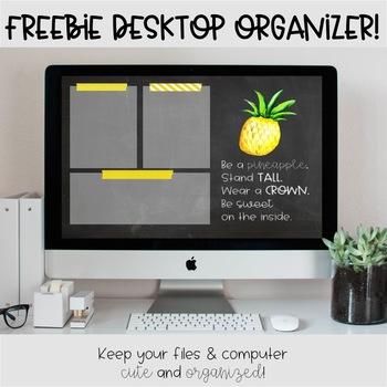 Pineapple Desktop Organization Wallpaper FREEBIE