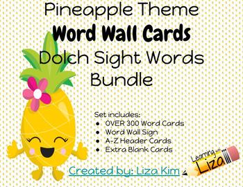 Pineapple Dolch Sight Words - BUNDLE - Word Wall Cards