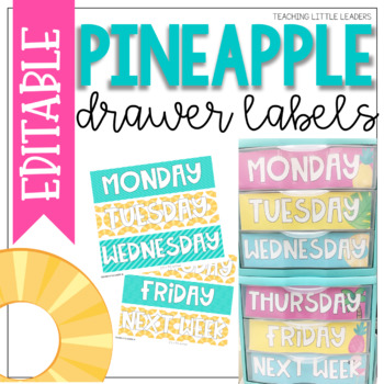 Pineapple Drawer Labels {Editable}