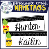 Pineapple Emoji Cursive Nametags {EDITABLE}
