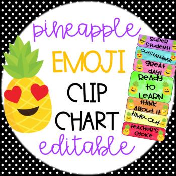 Pineapple Emoji Editable Classroom Clip Chart