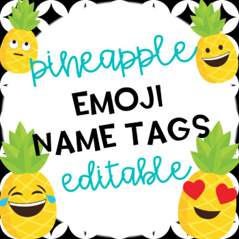 Pineapple Emoji Editable Name Tags
