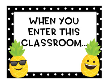 Pineapple Emoji When You Enter This Classroom Poster