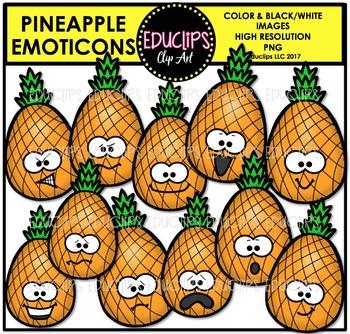 Pineapple Emoticons Clip Art Bundle {Educlips Clipart}