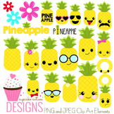 Pineapple Emotion Kawaii Faces and Papers Icons  Digital Graphics CU