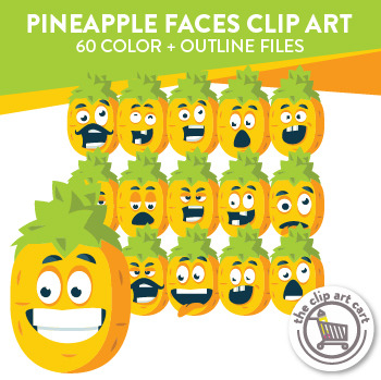Pineapple Faces Clip Art