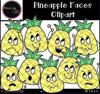 Pineapple Faces Clipart - Pineapple Clipart