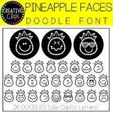 Pineapple Faces Doodle FONT {Creative Clips Clipart}