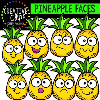 Pineapple Faces: Summer Clipart {Creative Clips Clipart}